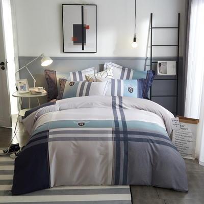 2020新款全棉13372休闲条格系列四件套 1.5m床单款四件套 达卡