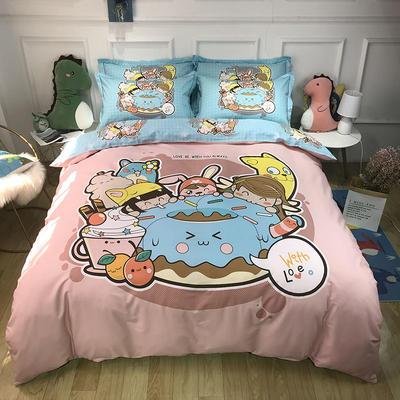 2020新款全棉13372卡通系列四件套 1.5m床单款四件套 甜甜圈