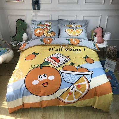 2020新款全棉13372卡通系列四件套 1.2m床单款三件套 阳光橙