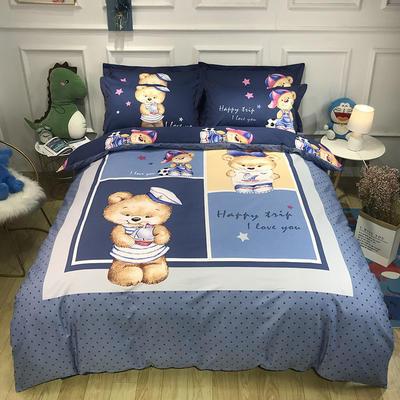 2020新款全棉13372卡通系列四件套 1.5m床单款四件套 哈尼蓝