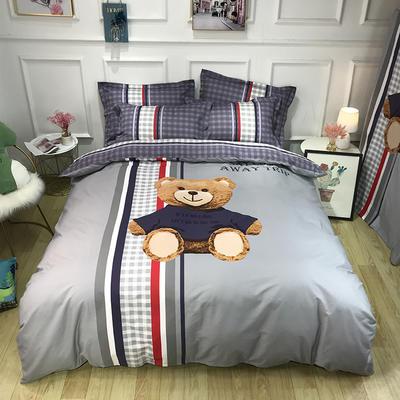 2020新款全棉13372卡通系列四件套 1.2m床单款三件套 熊宝贝