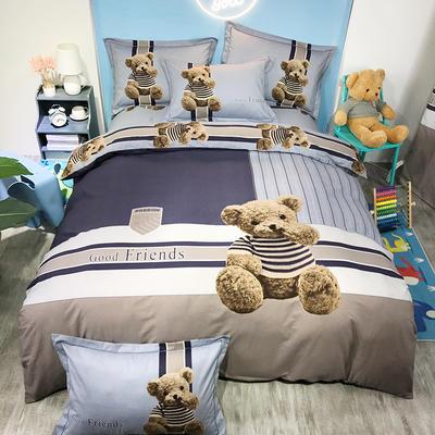 2020新款全棉大版磨毛全棉生态磨毛卡通四件套 1.5m床单款四件套 熊熊乐园