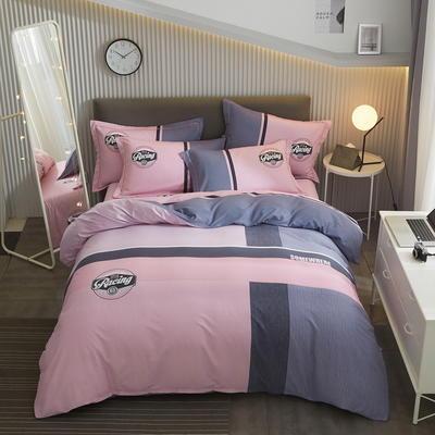 2020新款全棉磨毛生态磨毛大版四件套 1.8m床单款四件套 紫嫣
