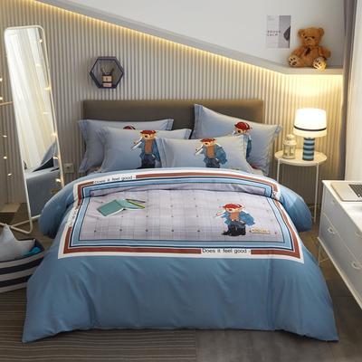 2020新款全棉大版生态磨毛卡通系列四件套-电子图 1.5m床单款四件套 好感熊