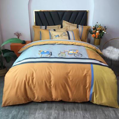 2021新款全棉13372匹马棉大版活性印花四件套 实拍图 1.5m床单款四件套 温莎