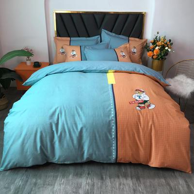 2021新款全棉13372匹马棉大版活性印花四件套 实拍图 1.5m床单款四件套 沙文