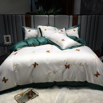 2021新款100支长绒棉四件套-蝶影系列 1.8m床单款四件套 墨绿
