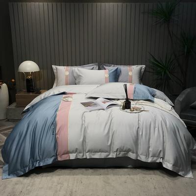 2021新款100支长绒棉四件套-都市生活系列 1.8m床单款四件套 银白色