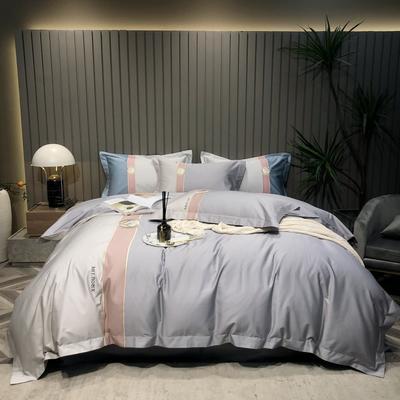 2021新款100支长绒棉四件套-都市生活系列 1.8m床单款四件套 银灰色