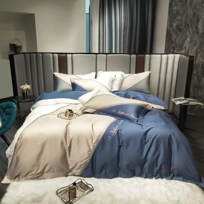 2021新款100支长绒棉四件套-幻境系列 1.8m床单款四件套 宝蓝色