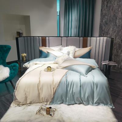 2021新款100支长绒棉四件套-幻境系列 1.8m床单款四件套 郁蓝