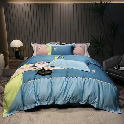 2021新款100支长绒棉四件套-流金海洋系列 1.8m床单款四件套 宝石蓝
