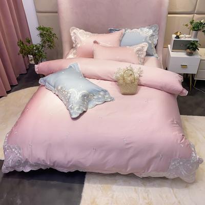 2021新款100支长绒棉四件套-暮光系列 1.8m床单款四件套 粉色