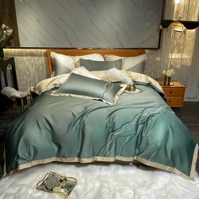 2021新款100支长绒棉四件套-约瑟系列 1.8m床单款四件套 大理石绿色