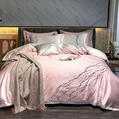 2021新款100支长绒棉四件套-约瑟系列 1.8m床单款四件套 粉色