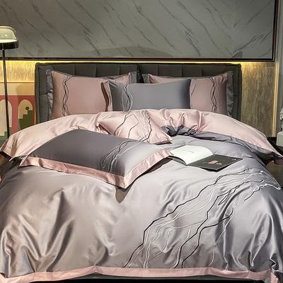 2021新款100支长绒棉四件套-约瑟系列 1.5m床单款四件套 灰色