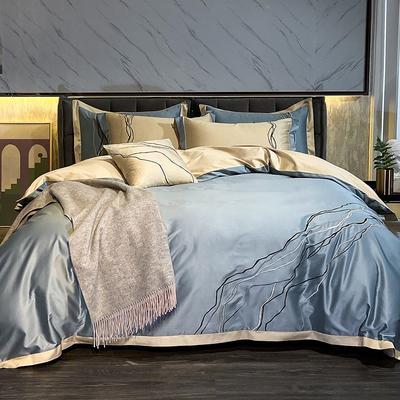2021新款100支长绒棉四件套-约瑟系列 1.8m床单款四件套 蓝色