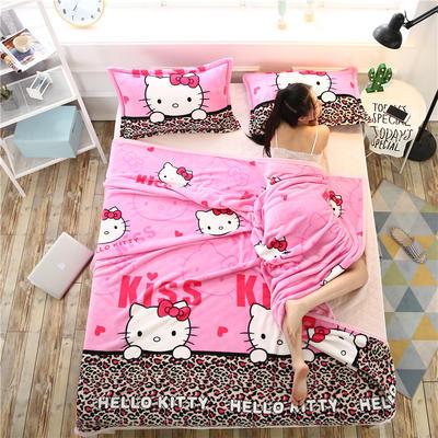 云貂绒加厚法莱绒毛毯子盖毯 180cmX200cm 豹纹KT猫