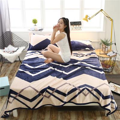 云貂绒加厚法莱绒毛毯子盖毯 70cmX100cm(折边花型随机) 波浪