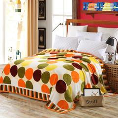 云貂绒加厚法莱绒毛毯子盖毯 70cmX100cm(折边花型随机) 橙泡泡