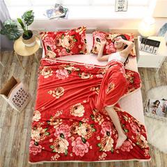 爱她美加厚法莱绒毛毯子盖毯 200cmX230cm 豆沙牡丹
