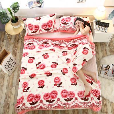 云貂绒加厚法莱绒毛毯子盖毯 200cmX230cm 富贵吉祥