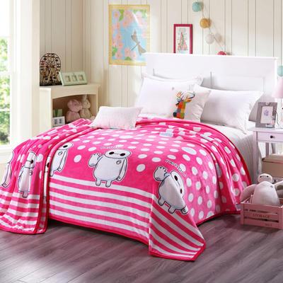 云貂绒加厚法莱绒毛毯子盖毯 200cmX230cm 大白-红