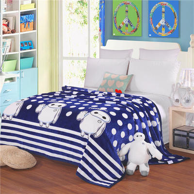 云貂绒加厚法莱绒毛毯子盖毯 200cmX230cm 大白-蓝