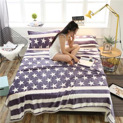 云貂绒加厚法莱绒毛毯子盖毯 200cmX230cm 横条五星