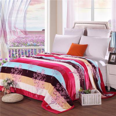 云貂绒加厚法莱绒毛毯子盖毯 200cmX230cm 横条樱花