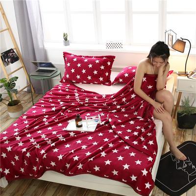 云貂绒加厚法莱绒毛毯子盖毯 200cmX230cm 红星星
