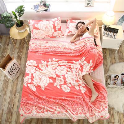 云貂绒加厚法莱绒毛毯子盖毯 180cmX200cm 花好月圆