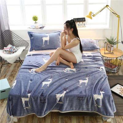 云貂绒加厚法莱绒毛毯子盖毯 120cmX200cm 灰小鹿