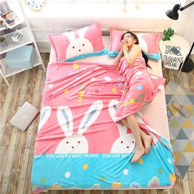 云貂绒加厚法莱绒毛毯子盖毯 180cmX200cm 萝卜兔