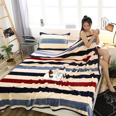 云貂绒加厚法莱绒毛毯子盖毯 120cmX200cm 竖条