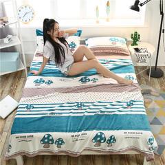 爱她美加厚法莱绒毛毯子盖毯 150cmX200cm 竖条蘑菇
