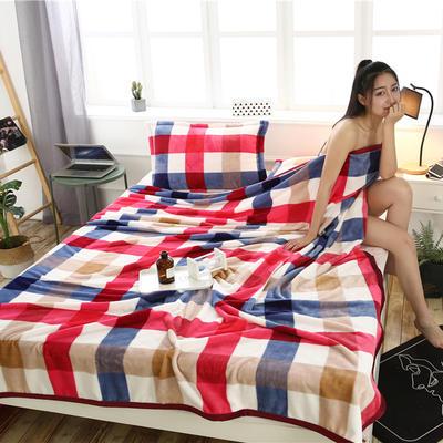云貂绒加厚法莱绒毛毯子盖毯 180cmX200cm 五彩格-红