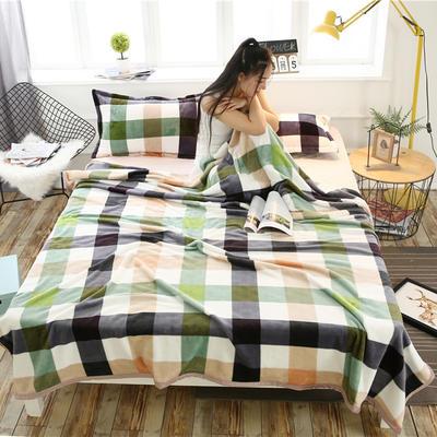云貂绒加厚法莱绒毛毯子盖毯 180cmX200cm 五彩格-绿
