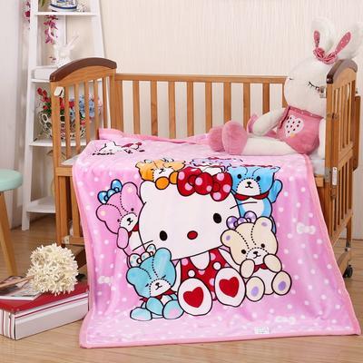 儿童单层法莱绒披肩毛毯子盖毯 100cmx140cm KT宝贝