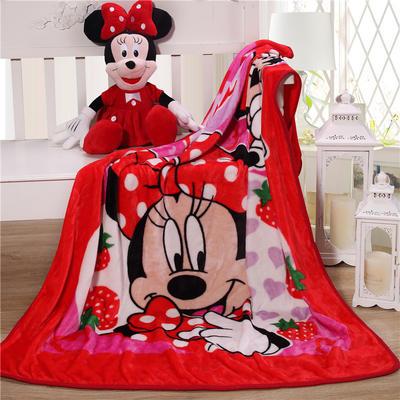 儿童单层法莱绒披肩毛毯子盖毯 100cmx140cm 草莓米奇