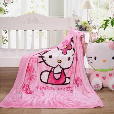 儿童单层法莱绒披肩毛毯子盖毯 100cmx140cm 粉KT