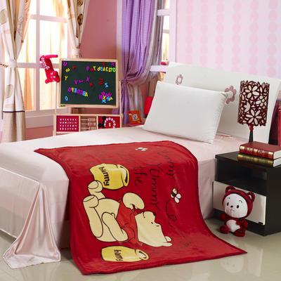 儿童单层法莱绒披肩毛毯子盖毯 100cmx140cm 蜂蜜维尼熊