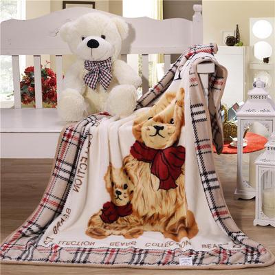 儿童单层法莱绒披肩毛毯子盖毯 100cmx140cm 格子熊