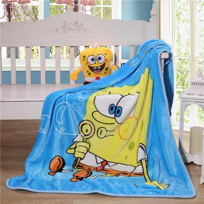 儿童单层法莱绒披肩毛毯子盖毯 100cmx140cm 海绵宝宝
