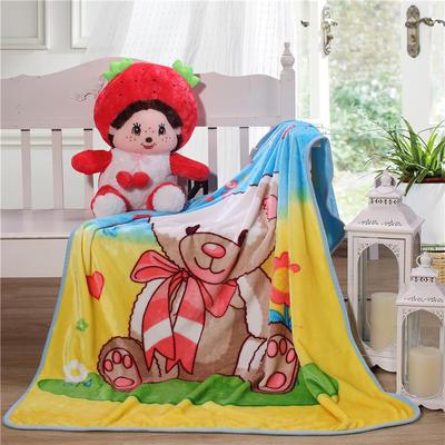 儿童单层法莱绒披肩毛毯子盖毯 100cmx140cm 围巾小熊
