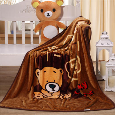 儿童单层法莱绒披肩毛毯子盖毯 100cmx140cm 幸运小熊