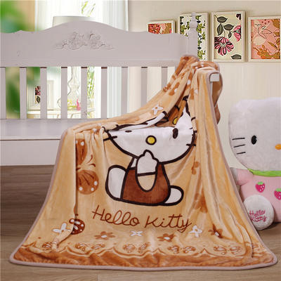儿童单层法莱绒披肩毛毯子盖毯 100cmx140cm 棕KT