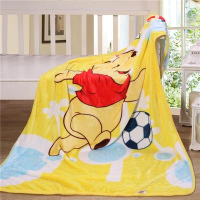 儿童单层法莱绒披肩毛毯子盖毯 100cmx140cm 足球维尼熊