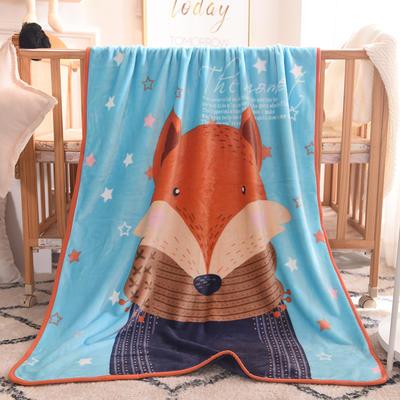 儿童单层法莱绒披肩毛毯子盖毯 100cmx140cm 狐狸