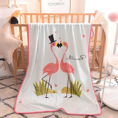 儿童单层法莱绒披肩毛毯子盖毯 100cmx140cm 火烈鸟